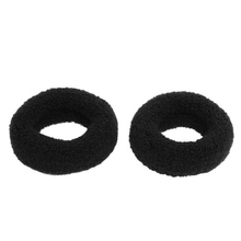 "High Quality New 2Pcs Black 1.8"" Wide Soft Elastic Plush Ponytail Holder Hair Tie Band"