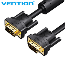 Vention1080P VGA Cable VGA to VGA Flat Cable Male to Male Black Braided High Premium Shielding HDTV VGA Cable3+6 2M 3M 5M 8M 10M(China)