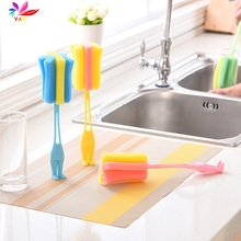 Kitchen Handle Sponge Brush Baby Milk Bottle Cup Glass Washing Cleaning Tools(China)