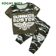 Summer Children Boy 2017 clothing set Toddler Camouflage Clothes for Kid Outfit T shirt Sport Tracksuit Eagle Military Uniform(China)