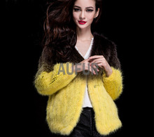 Classic Womens Real Mink Fur Coats Fashion Knitted Genuine Fur Jackets Nine Quarter Gradient Color Overcoat AU00011(China)