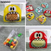 NABAG 50Pcs Cartoon Cookie Candy Bag Self Adhesive Seal Storage Bags Bakery Biscuit Roasting OPP Poly Bags DIY Gift 10X10cm