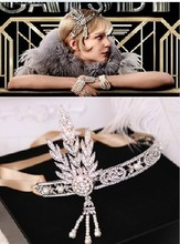 Baroque exaggerated metal pearl flowers cross crown crystal silk headband bridal hairband jewelry 489(China)