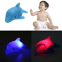 Cute Dolphin Shape Children Swiming Water Toys Baby Bath Toy Colorful LED Flashing Lamp Changing Toy Lovely Gift for Children(China)