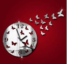 Creative diy maple leaf wall clock on the wall, home decoration design, the clock sitting room, bedroom, mute scanning(China)