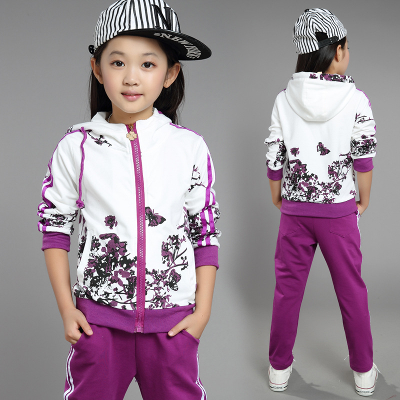 2017 Spring Autumn Girls Clothes Cotton Sport Hooded Print Coat Pants Two Piece Children Clothing Set  4-13 years Kids Clothes<br><br>Aliexpress