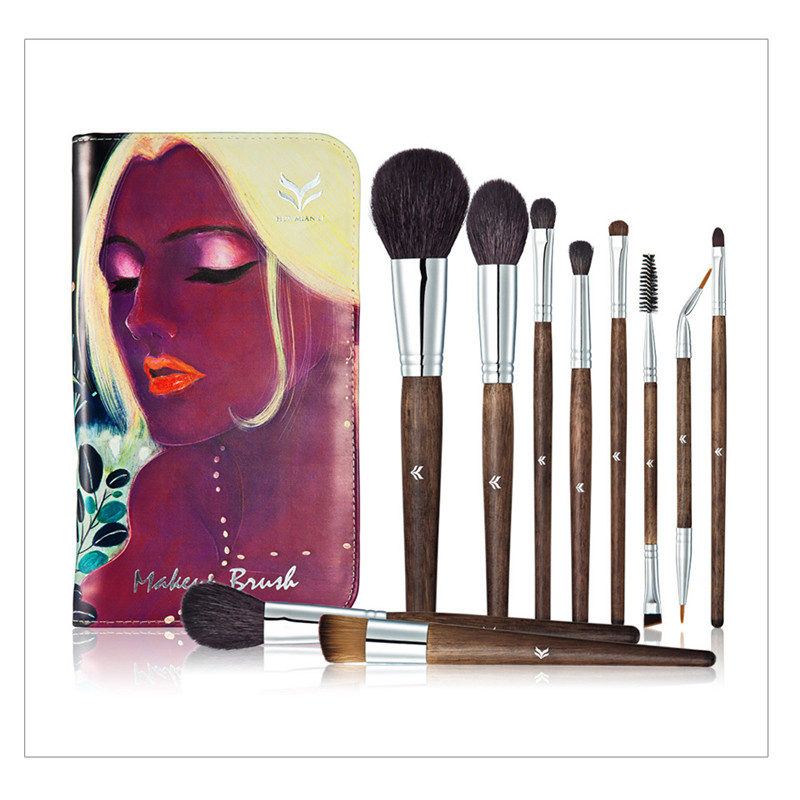 10pcsFashion  Makeup Brush Set tools Top Quality Animal Hair Foundation Eyeshadow Cosmetic Brushes With Exquisite DIY Case<br>