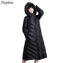 Neploe 2017 Winter New Women Long Slim Hooded Down Jacket Fashion Oblique Lapel Solid Slim Parkas Leisure Trend Warm Coat 66319(China)