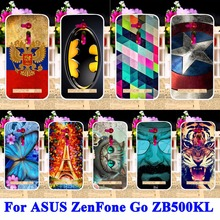 Soft TPU Silcone Mobile Phone Cases For ASUS ZenFone Go ZB500KL ZB500KG Housing Covers Tiger Captain American Batman Hood Shell