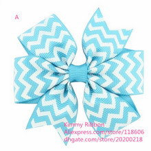 200pcs Free shipping Blue Chevron Zig Zag Medium Ribbon Gator Hair Clip Bow(China)