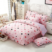 cotton floral print bedding set 4 piece queen size pink lace bed skirt twin duvet cover free shipping