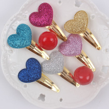 2017 new heart sparkling girls hair clips 6 color love heart Long 33mm wide and 28mm gold barrettes hair accessories for kids