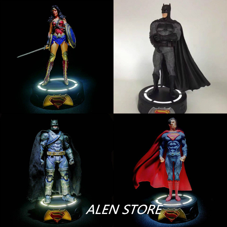 ALEN NEW hot 20cm Justice League Batman Superman Wonder Woman shine collectors action figure toys Christmas gift doll<br>