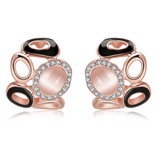 18K Rose Gold 585 Plated Opal Czech Drill Black Oil Drip Stud Earrings For Women Jewelry Vintage Aros Brincos Aretes QA0259(China)