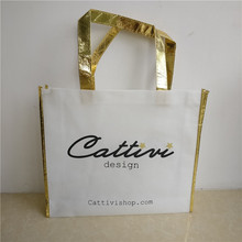 Wholesale 500pcs/lot 30Hx35x8cm custom reusable non woven bag/custom tote fabric shopping bags with handle Free shipping by TNT(China)