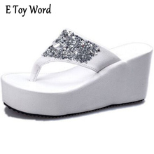 Summer of 2017 Clip toe Diamond Waterproof Breathable thick Bottom Wedge Heel shoes High-heeled Sandals Female Slippers Sandals