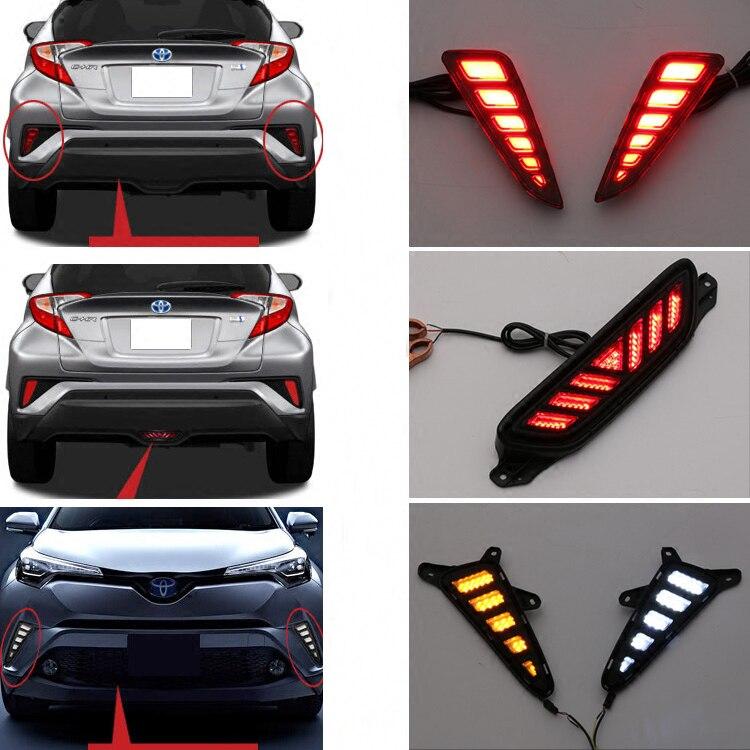 New Arrival Front DRL Daytime Running light Fog Lamp Braking light For Toyota C-HR 2017 2018 Accessories <br>