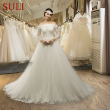 Buy SL041 Cheap Sexy Long Chapel Train Boat Neck Tulle Full Sleeve Flower Lace Wedding Dresses for $220.15 in AliExpress store