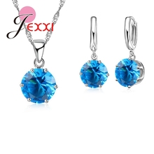 JEXXI Fashion Jewelry Sets 925 Sterling Silver Chain Necklace&Pendants Ball Shiny Shaped Earrings Suits Women Collar Brincos