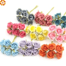 6pcs/lot Decorative Silk Scrapbooking Mini Rose Artificial Flower Bouquet For Wedding Craft Decoration DIY Wreath Flower(China)