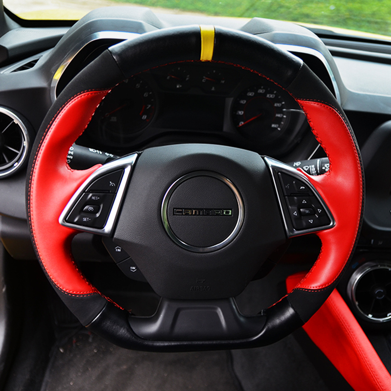 Leather steering wheel covers Car accessories For Chevrolet Camaro Sixth generation 2016-present<br><br>Aliexpress