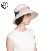 FS Retro Summer Straw Fedora For Women Double Color Knitted Band Unique Fashion Design Wide Brim Beach Party Hat Boater Hats(China)