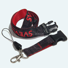FREE SHIPPING 50 X Black Lanyard Custom Logo Double Side Printed Keychain Holder Mobile Phone String Strap