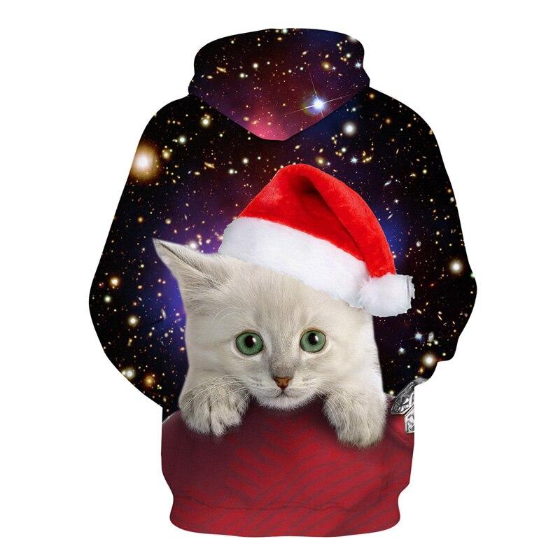 Christmas White Cat Hoodie