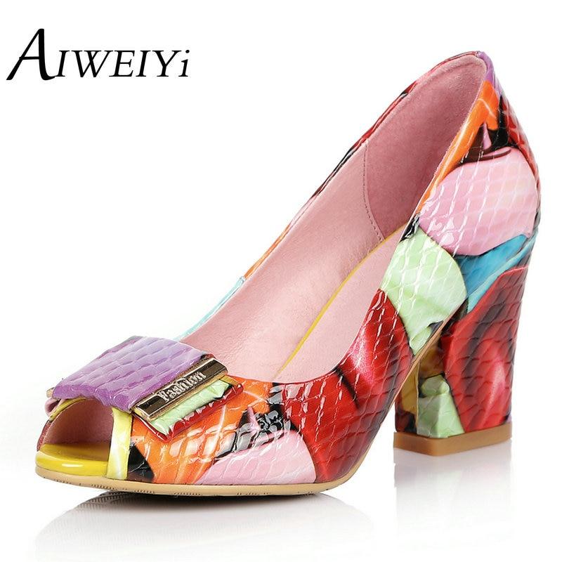 AIWEIYi Women Gladiator Sandals Genuine Leather Vintage Open toe Summer Shoes Thick High Heels Platform Dress Pump Shoes<br><br>Aliexpress