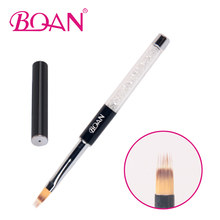 BQAN 10Pcs Professional 6# Nail Art Comb Brush Rhinestone Black Metal Handle Nail Gel Brush Painting Ombre Brush