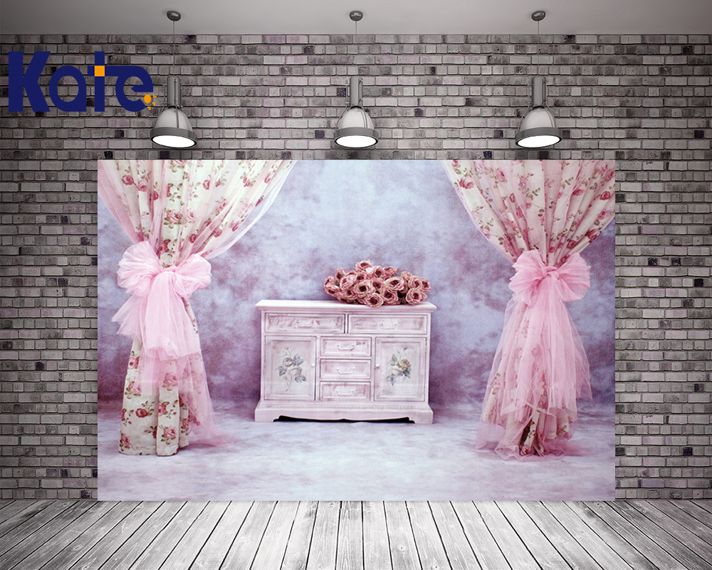 3MX6M(10X20 Ft) Kate Gorgeous Retro Photography Backdrop  Pink Curtain Flower Photography Backgrounds For Wedding Background<br>