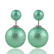 9 Colors Hot Selling Classic Wrinkled Double Sides Pearl Earrings Silver Double Big Ball Stud Earrings For Women Beads Jewelry