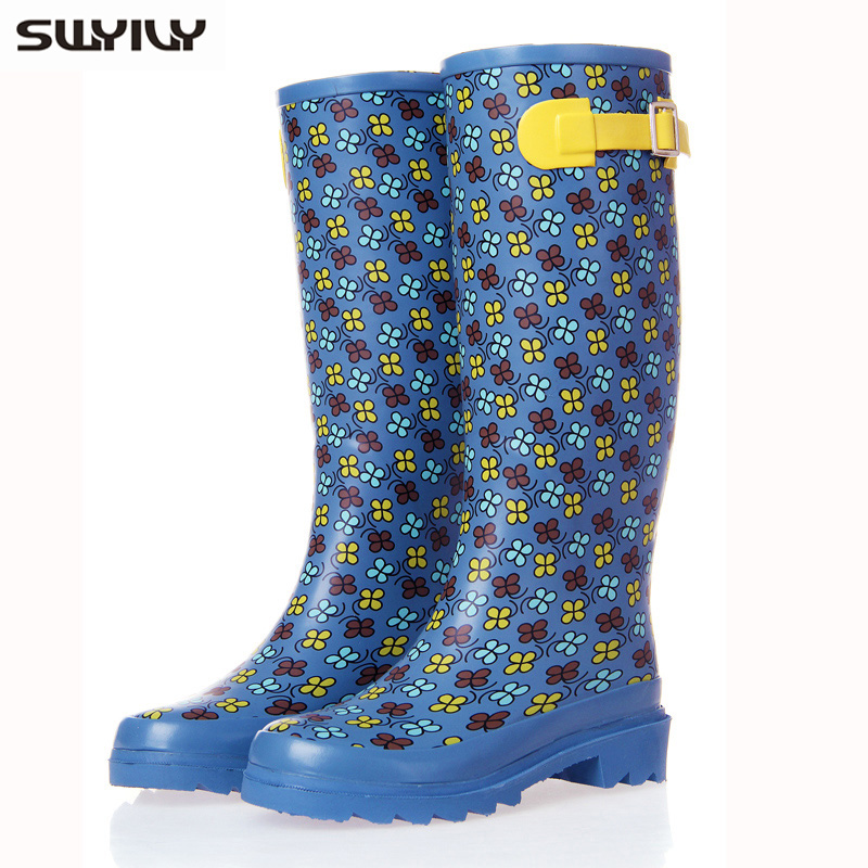 Tall Boot Women Flower Print Rainboots 2017 Summer Comfortable Hasp Decoration Blue Rubber Boots Large Size Botas Largas Mujer<br>