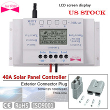 SUNYOBA 40A MPPT Solar Charge Controller LCD Display Solar Panel Battery Charge Three-time + 2x Exterior Plug(China)