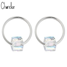 925 Sterling Silver Small Hoop Earring For Women Clear Austria Crystal CZ Stone Simple Circle Huggie Simple Style Ear Jewelry