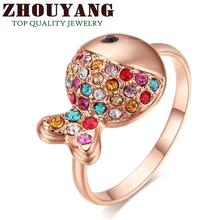 Top Quality R017 Lovely Q Fish Rose Gold Color Ring Austrian Crystals Full Sizes Wholesale