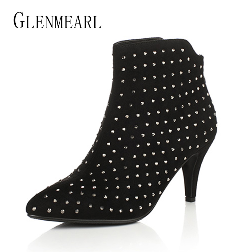 Black Women Ankle Boots Winter Autumn Rhinestones Crystal Boots High Heels Shoes Woman Sexy Flock Plus Size Pumps For Females 40<br>