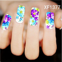 2016 NEW Fashion Beautiful Nail Sticker & Decal Hot Designs Watermark with Purple Flower