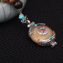 2 colors fashion imitational beewax ethnic beige necklace,Nepal jewelry handmade sandalwoods vintage tibetan silver necklace(China)
