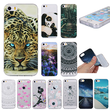 5 5S SE Fashion Cute Soft Silicone TPU Case For Apple iphone 5 5S SE Unique Scenery Tower Cat Unicorn Phone Back Cover Shell(China)