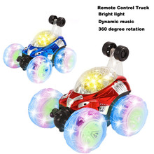 RC Rolling Stunt car Invincible Tornado Twister Remote Control Truck 360 Degree Spinning Flips LED Color Flash Music for kids