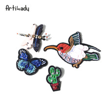 Artilady embroidery bird catus brooch pins lovely butterfly design for women's clothes jewelry party gift dropshipping(China)