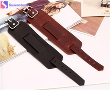 Punk Cool Men Womens Wide Genuine Leather Belt Bracelet Cuff Wristband Bangle Leather bracelet, black, brown(China)