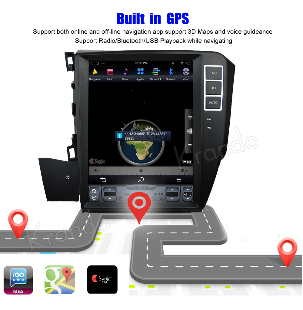 Krando Vertical screen android car radio multimedia for honda CIVIC left driving 2012+ screen navigation with gps system