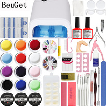 BeuGet  36W UV Lamp + 12 Color UV/LED  Gel + Builder Gel for nail extensions Nail Art set tools  varnish  manicure Beginner kit