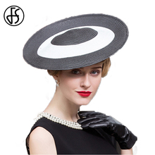 FS Fascinator 2017 Summer Ladies Royal Hats For Women Black White Splice Wide Brim Vintage Fedora Hat British Banquet Party Caps(China)