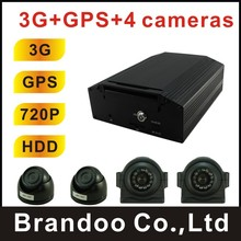 DIY BUS DVR system, 4 cameras AHD, 2pcs inside dome camera, 2pcs side view car camera waterproof, used on shuttle bus, 3G+GPS