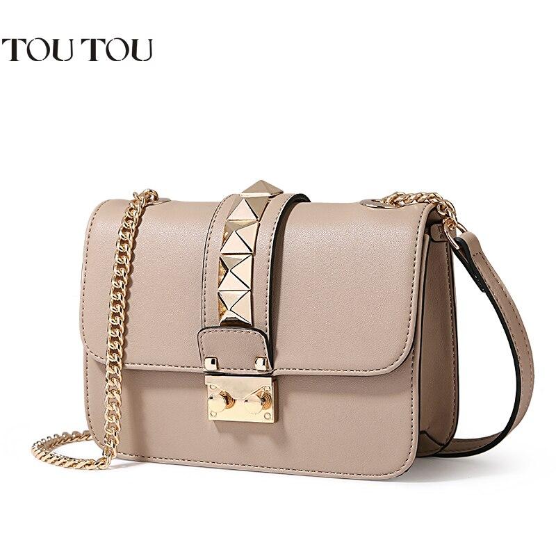 TT076 Women Messenger Bag Luxury chain Handbags Women Bag Designer Rivet Female Shoulder Bags Famous Brand Crossbody Bags Women<br>