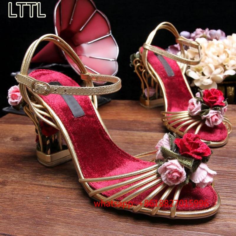 Handmade Retro Rose Birdcage Strange Heels Women Sandals Gold Buckle Strap Wedding Shoes Woman Sweet Flower Open Toe Women Pumps<br><br>Aliexpress