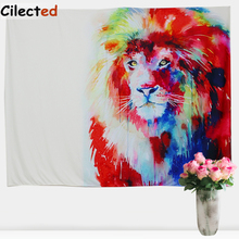 Cilected White Colorful Lion Printed Decorative Wall Hanging Tapestry Mandala Towel Bohemian Beach Cotton Bedspreads Boho Decor(China)